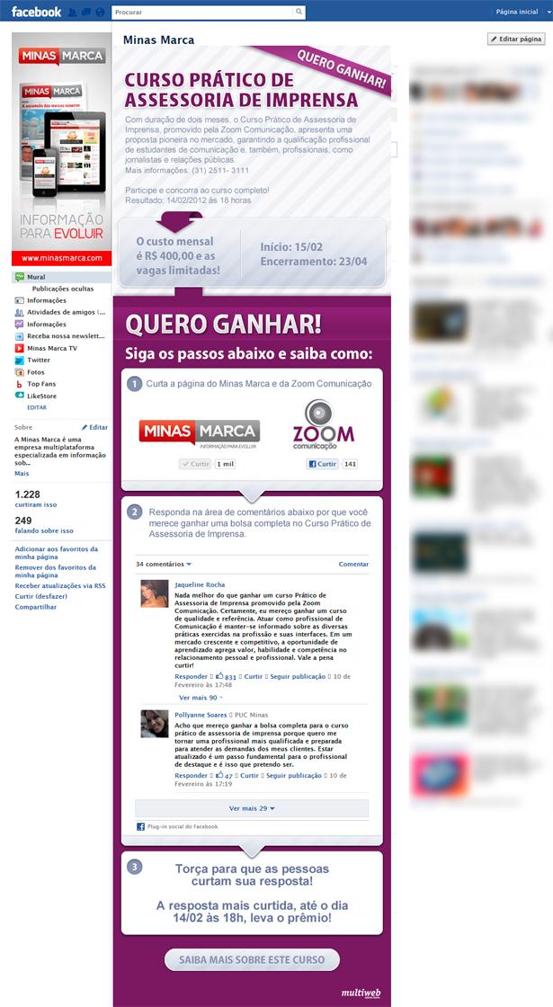 Aplicativo Facebook Promoção Minas Marca + Zoom