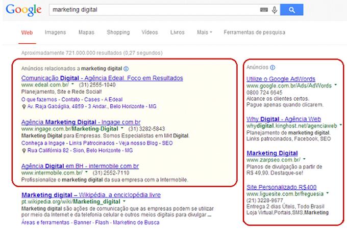 busca Google - links patrocinados