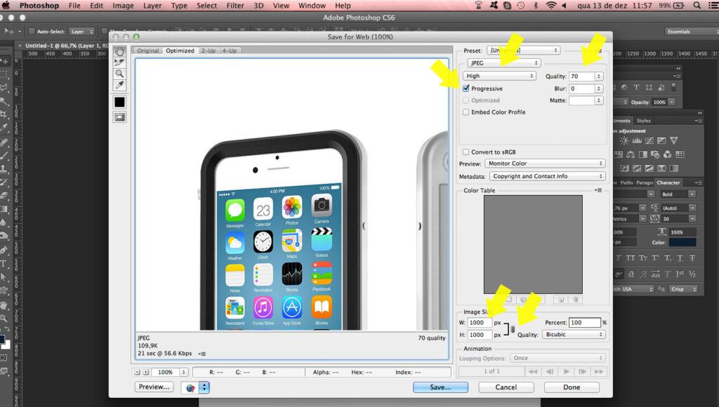 Otimizando foto para loja virtual